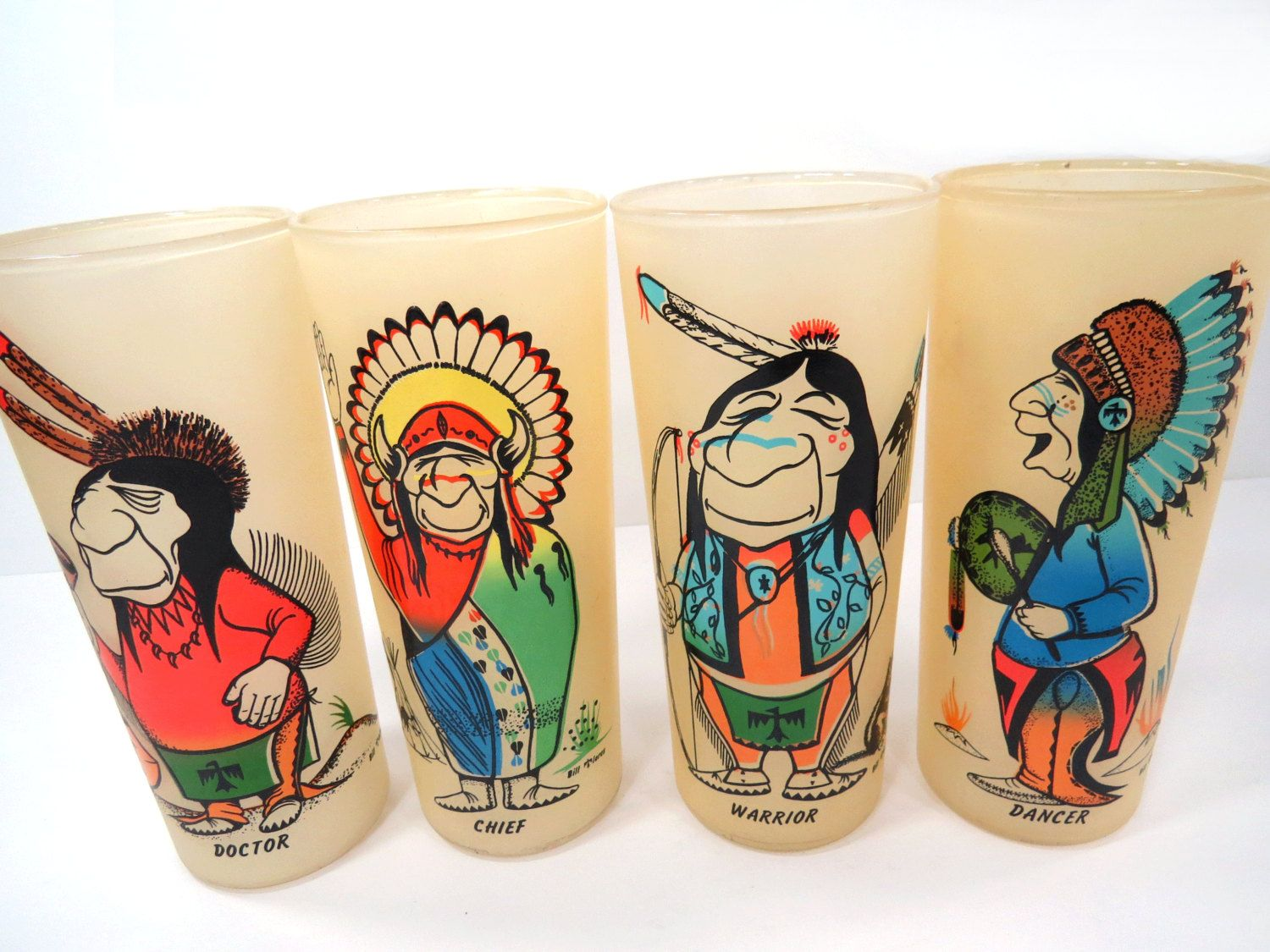 Beautiful 4 Indian Native American Frosted Glasses By Bill Flores   Humerous Glass  Set   Retro Barware