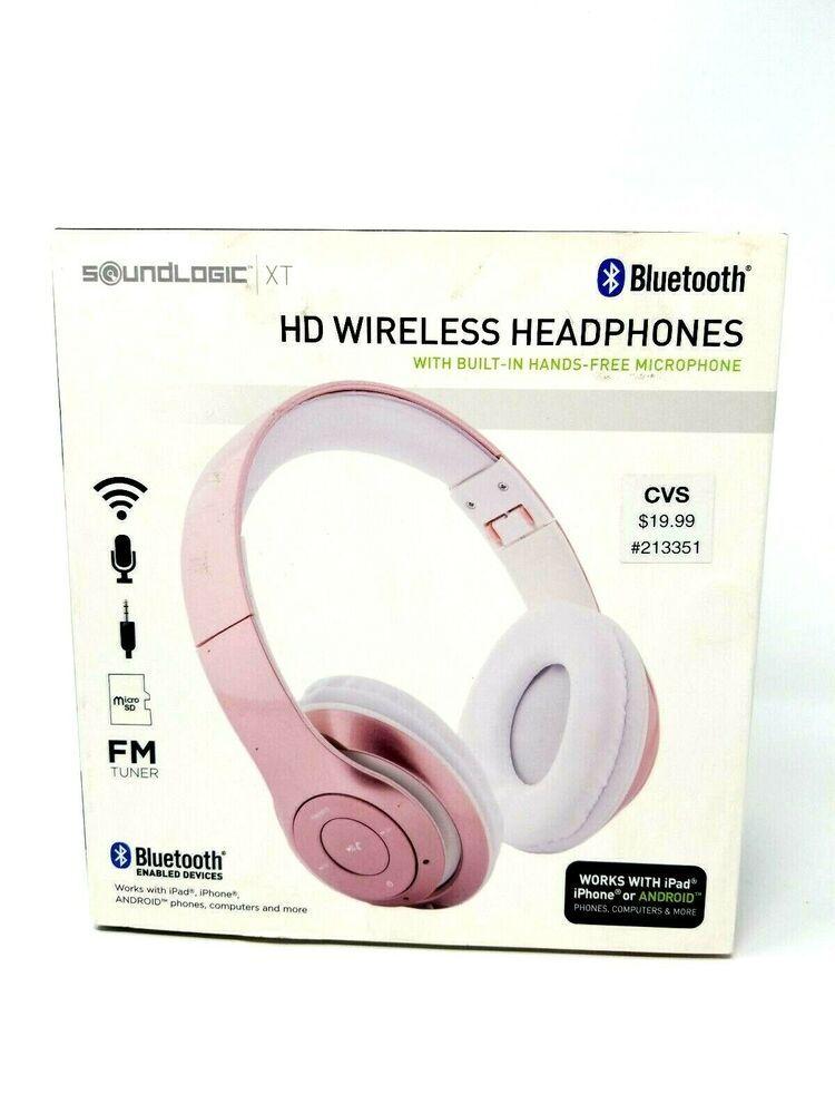 Soundlogic Xt Bluetooth Wireless Headphones Fm Tuner Hands Free Foldable Design Soundlogic Wireless Headphones Headphones Soundlogic