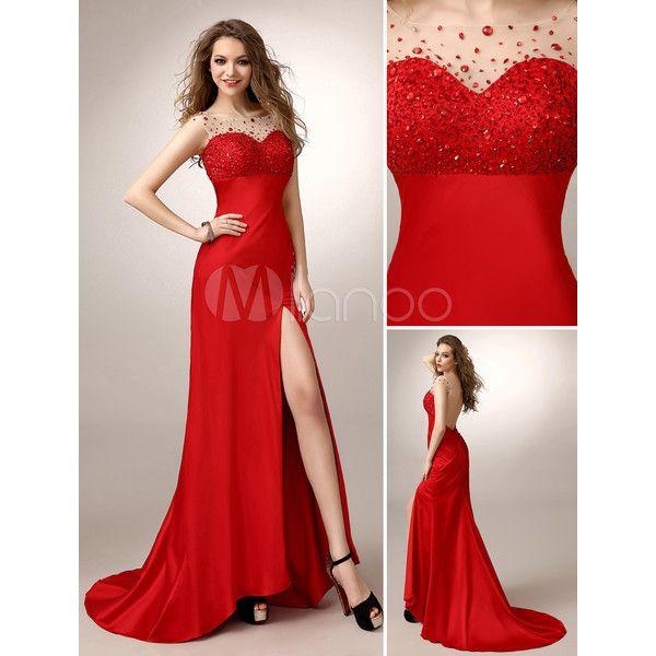 Rotes Prom Kleid mit Illusion-Ausschnitt und Schlitz ❤ liked on ...