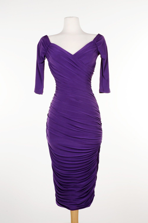 Laura Byrnes California Monica Wiggle Dress In Dark Purple Monica Dress Dresses Wiggle Dress [ 1500 x 1000 Pixel ]
