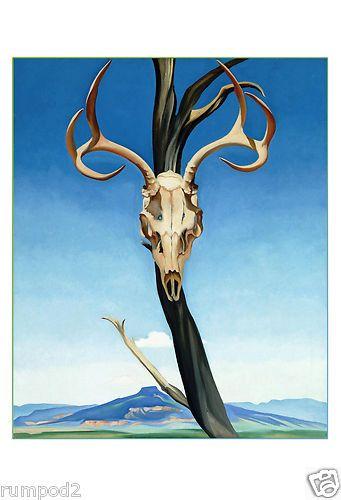 Georgia O'Keefe Poster/Art Print - Southwestern Deer Skull With Antlers