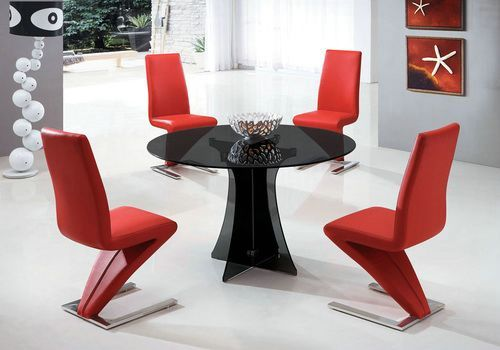 Black Round Glass Dining Table And Red Chairs Glass Dining Table