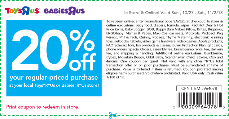 Pinned October 27th: 20% off at #Babies R Us & #Toys R Us, or online via promo code SAVE20 #coupons via The Coupons App