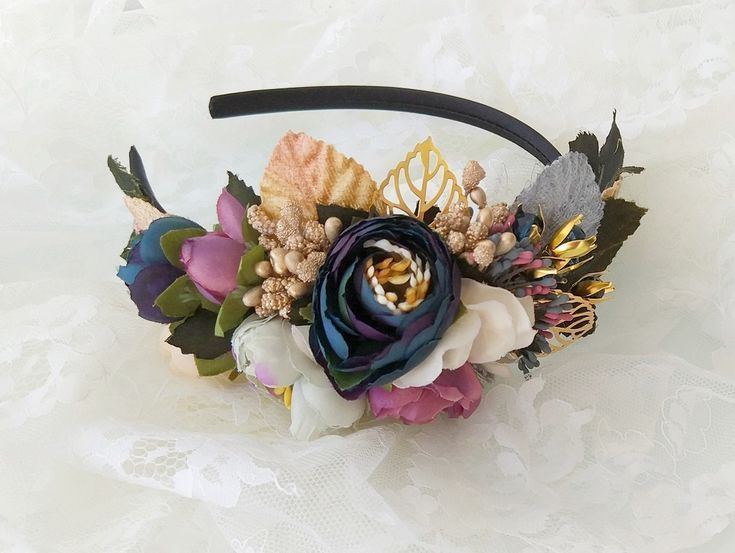 Navy flower headband, Gold leaf hair crown, Blue, gold, green and ivory flowers, Head wreath ... #flowerheadwreaths Navy flower headband, Gold leaf hair crown, Blue, gold, green and ivory flowers, Head wreath wedding hair piece, Mauve floral headpiece,  #Blue #Crown #Floral #Flower #flowers #Gold #Green #Hair #Headband #Headpiece #HochzeitHaarKroneGoldHochzeitHaarKroneMetallHochzeitHaarKronekurz #ivory #Leaf #mauve #Navy #piece #Wedding #wreath #flowerheadwreaths