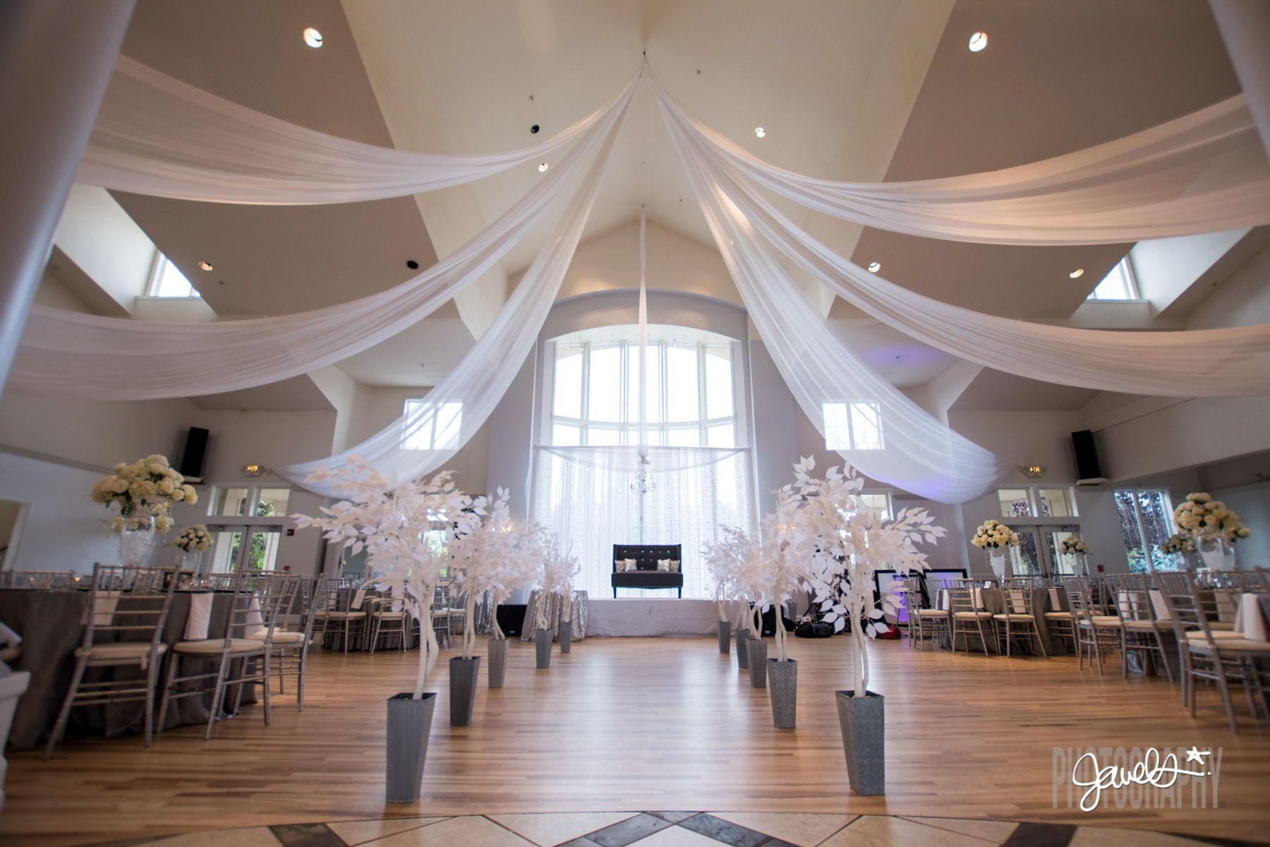 A Beautiful Reception Room Set Up And White And Silver Wedding Decor At Denver Wedding Venue Denver Wedding Photographer Denver Wedding Colorado Wedding Venues
