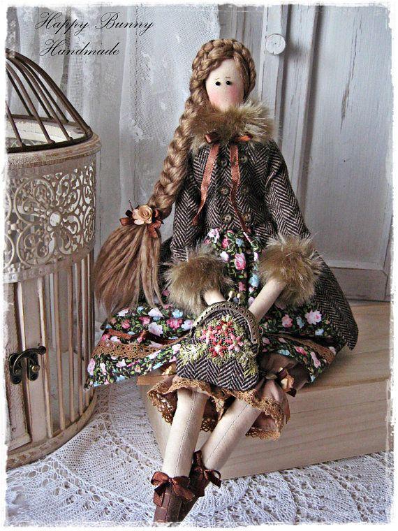 Tilda doll Miss Emma in tweed coat Textile Handmade Tilda doll OOAK ...
