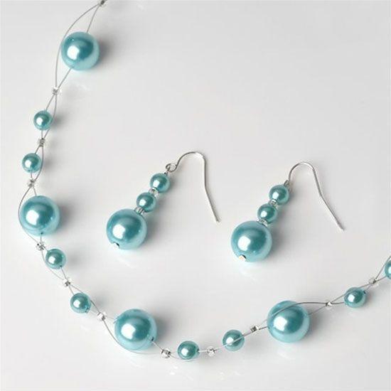 Aqua Pearl Jewelry Set #pearljewelry