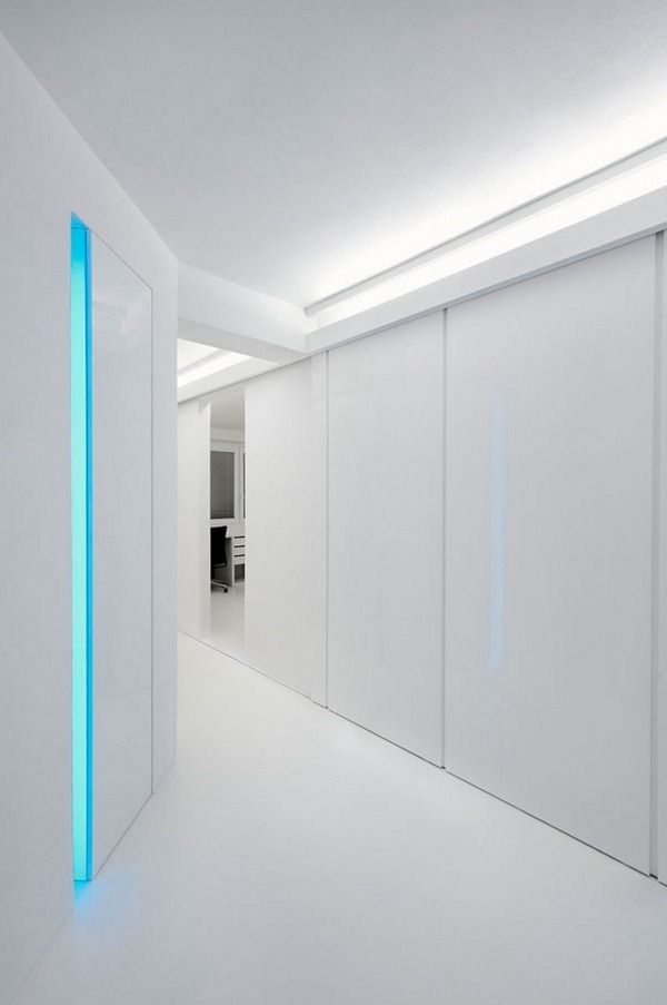 White House Futuristic Designed Walls Sliding Polyurethane Floor InteriorFuturistic DesignBedroom