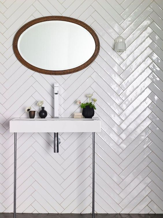 white gloss tiles with a chevron pattern are ideal for any bathroom ...
