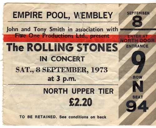The Rolling Stones Concert Ticket 1973 Rolling Stones Concert