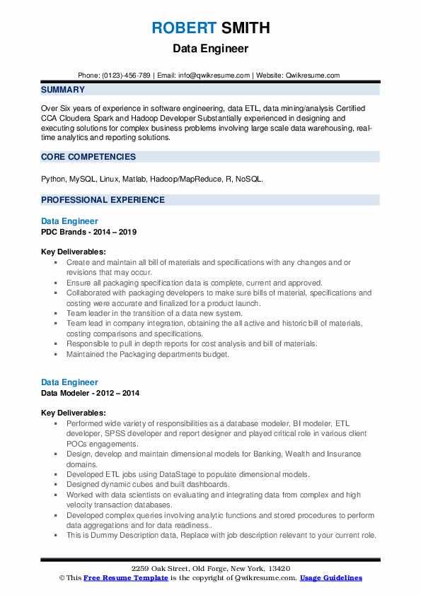 Data Engineer Resume Samples Qwikresume In 2020 Sample Resume Templates Resume Core Competencies