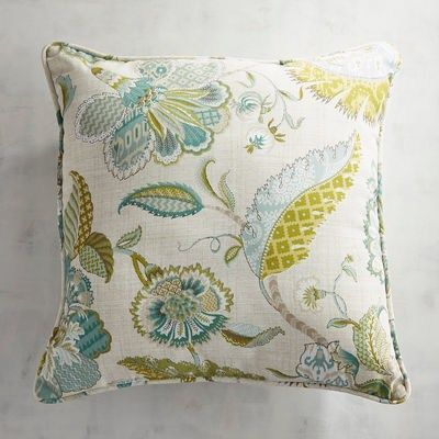 c0215f9ad76 Our sophisticated Eva Floral Pillow features an elegant botanical print in  muted hues of blue