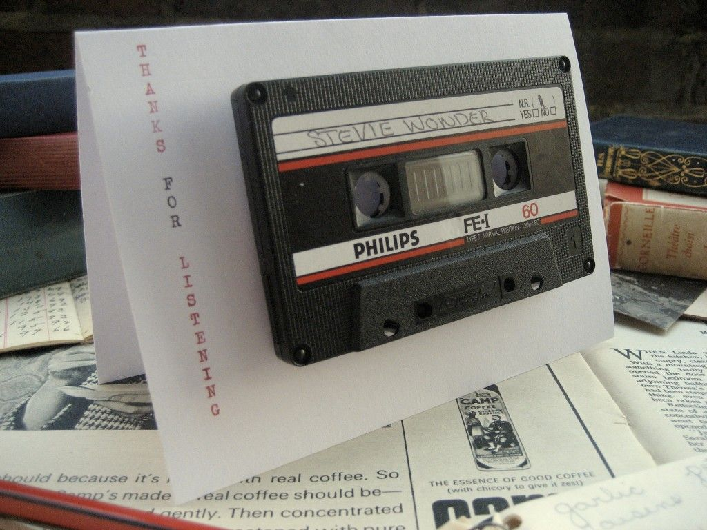 Cassette Tape Invitation Idea for 90s party Go to a thrift store