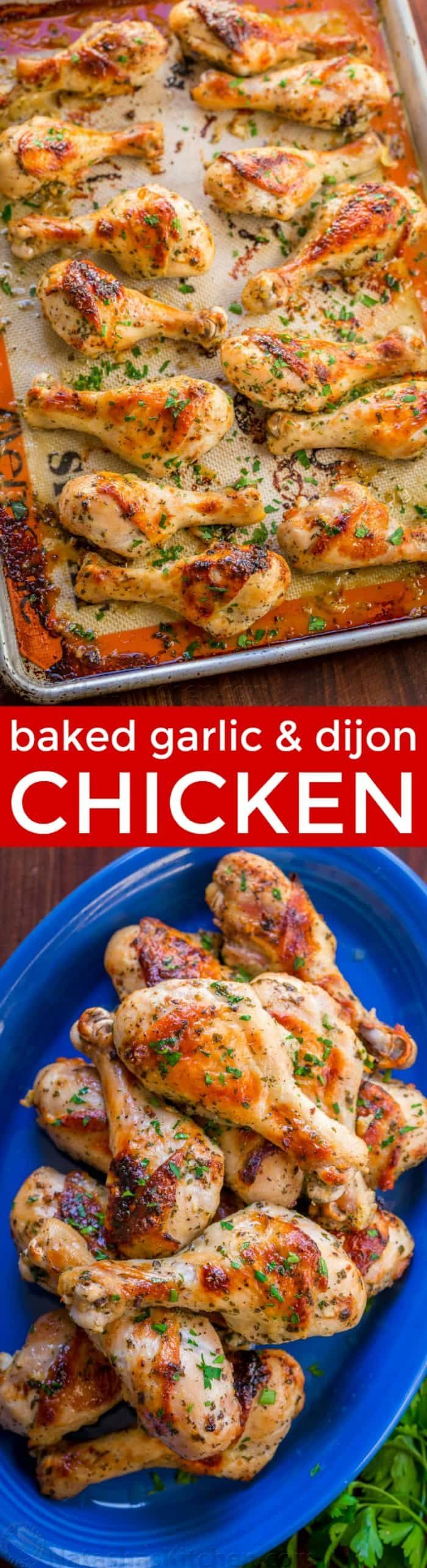 Baked Chicken Legs recipe with garlic, lemon and dijon. An easy and excellent chicken marinade with so much flavor. Learn the secret to great chicken legs!