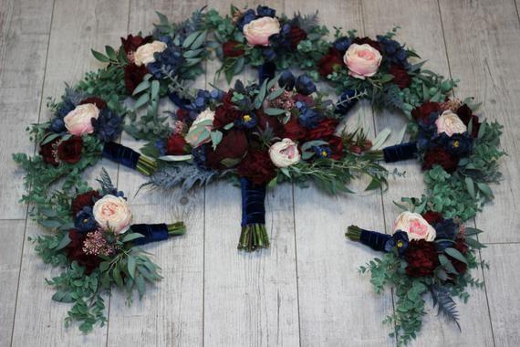Burgundy navy blue blush pink flowers Bridal bouquet Faux bouquet Blue thistle Wedding silk flowers Boho wedding size 22 inch