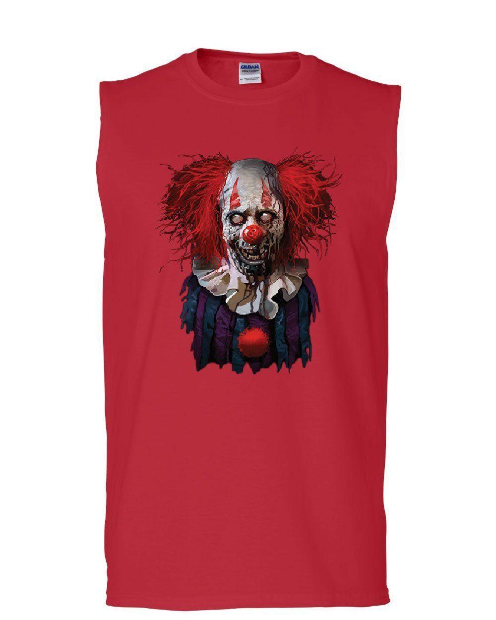 Tee Hunt Undead Zombie Clown Muscle Shirt Scary Creepy Horror Nightmare Fobia Sleeveless