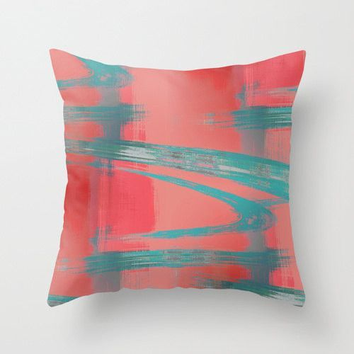 Abstract Throw Pillow Cover Teal Red Coral Grey Modern Home Decor ...