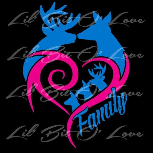 Custom 2 Color Kissing Deer With Babies Family Vinyl Decal