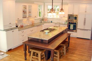 Historic Kitchen Remodel Traditional Kitchen Cincinnati Essence Design Studios Kitchen Island Table Kitchen Island With Table Attached Kitchen Design