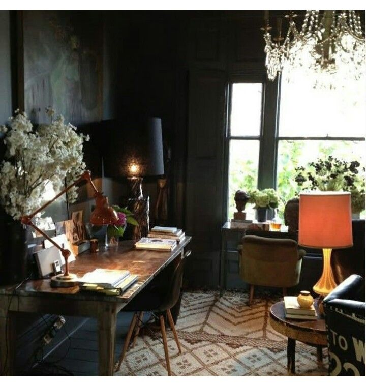 19 Dramatic Masculine Home Office Design Ideas: Moody And Atmospheric, Again I Love This. Perfect For Me To Write In.