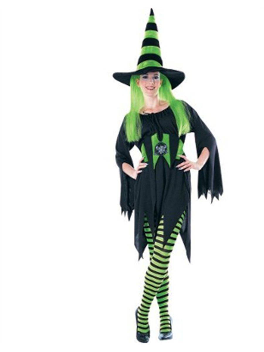 922364d4e610a Womens Black and Green Striped Wicked Witch Costume Tights#Green, #Striped,  #Womens
