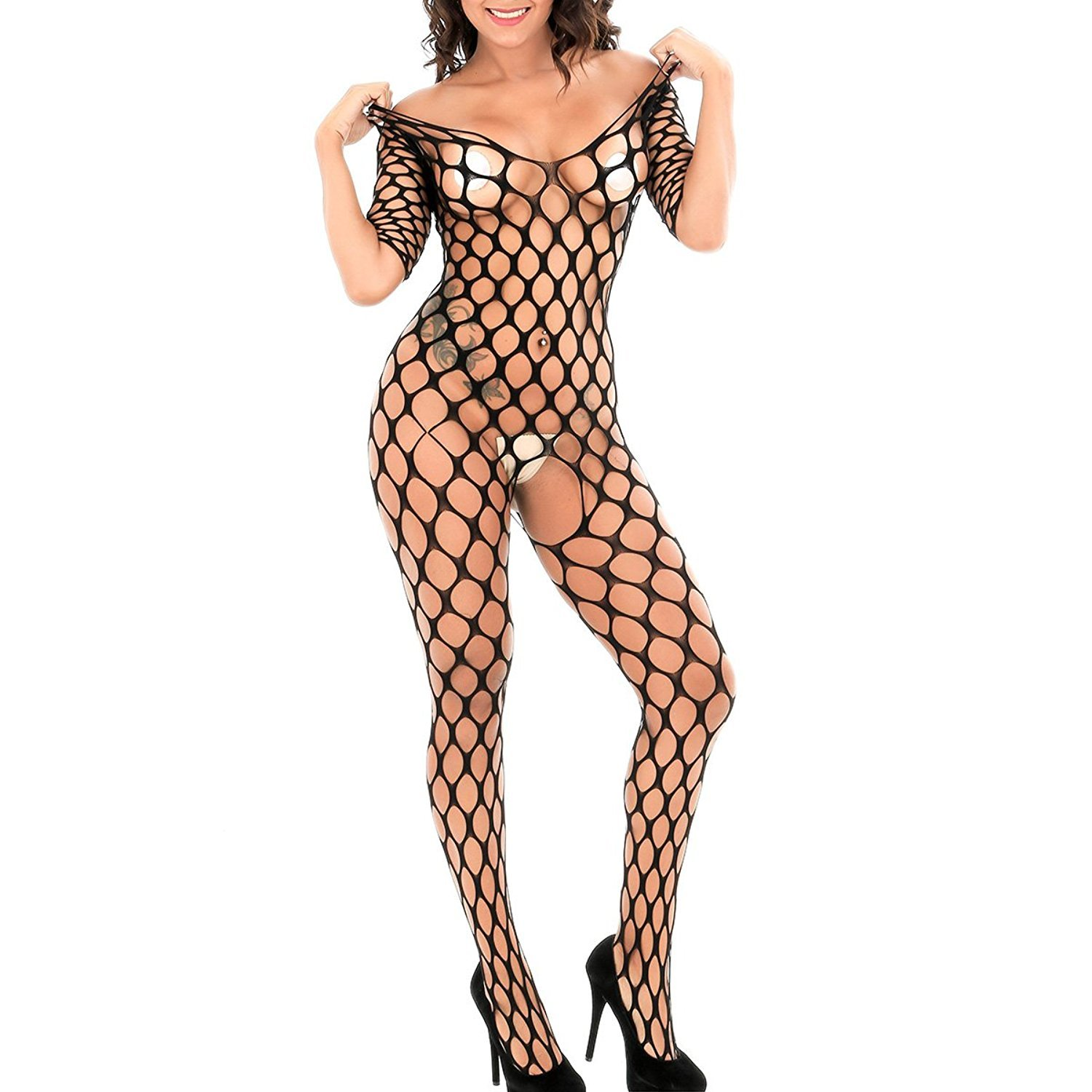 21f291c8d55 Beauty Bodystocking Crotchless Women Sexy Lingerie Fishnet Bodysuit Teddy  Hollow Out Stretch Babydoll