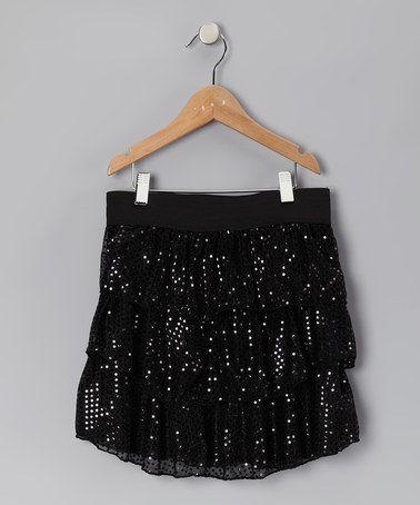 Black Disco Dot Tiered Ruffle Skirt -by BTween!