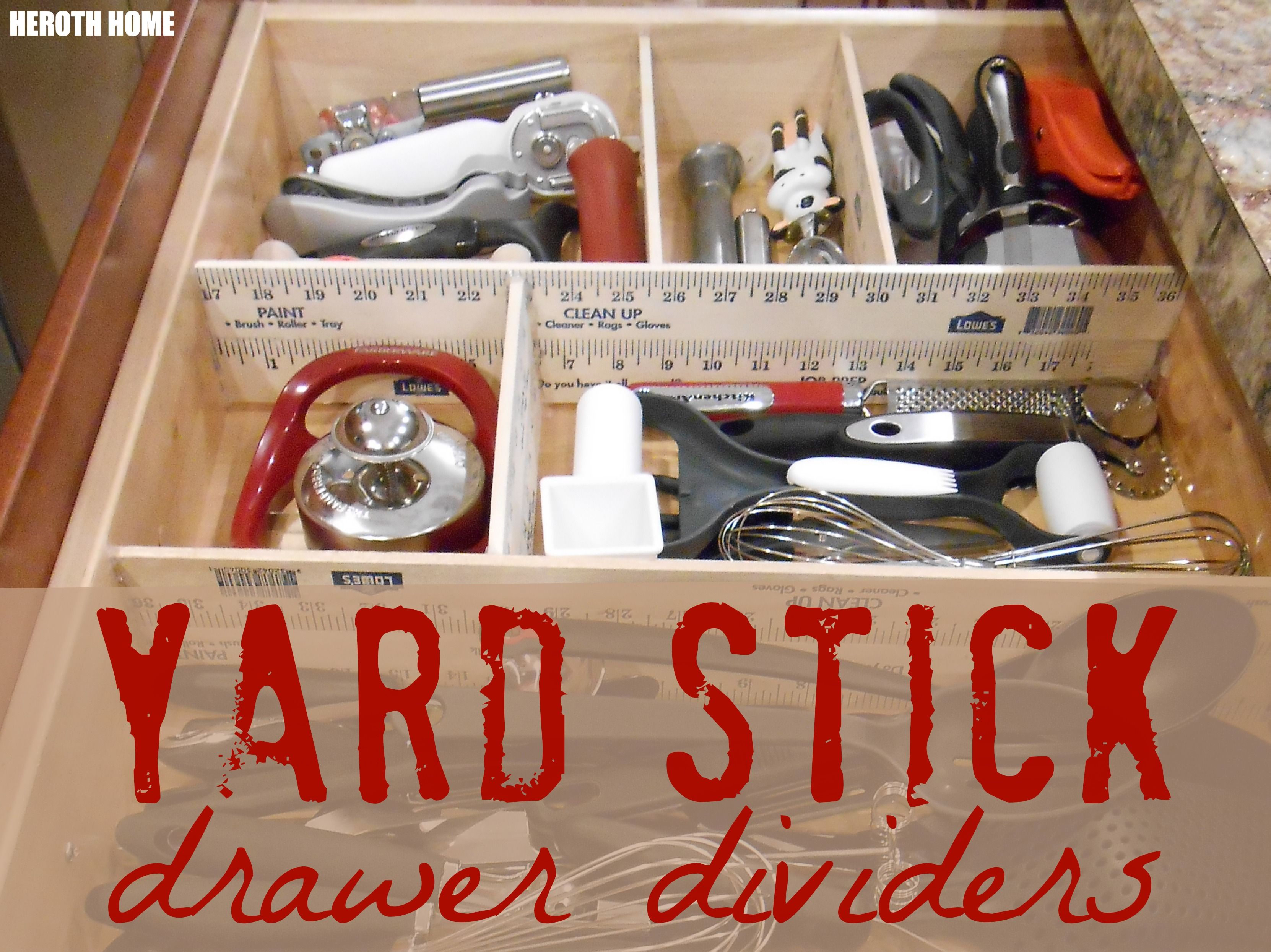 How to organize kitchen cabinets yard stick drawer dividers