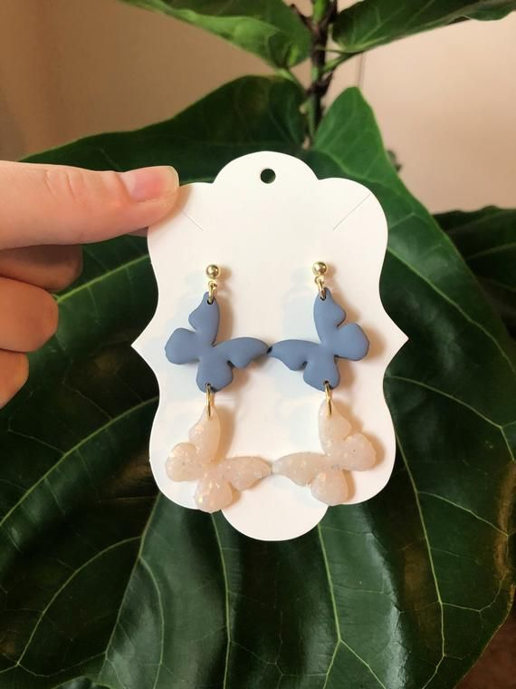 Photo of Blue and White Butterfly Polymer Clay Dangle Earrings, Boho Style Earring