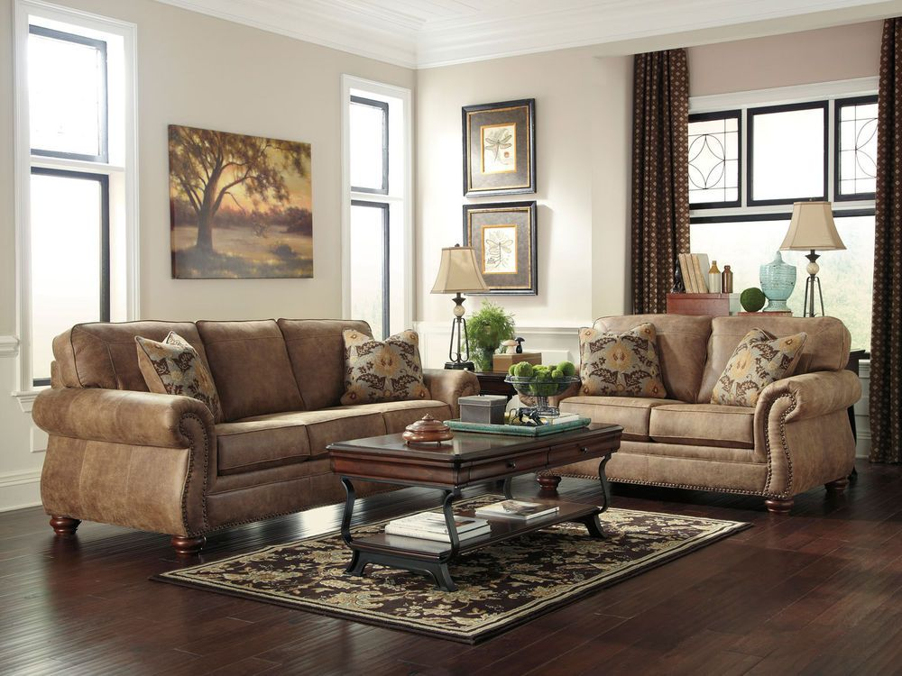 Details About VALENTINE   Traditional Rustic Microfiber Sofa Couch Set  Living Room Furniture