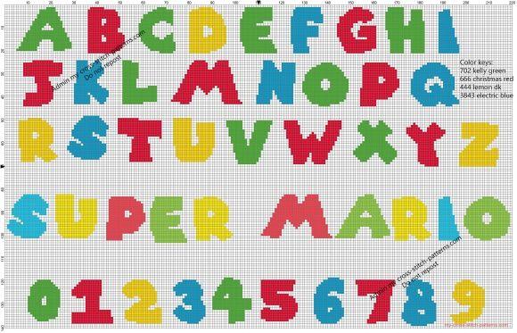 Super Mario Bros free videogames cross stitch alphabet pattern