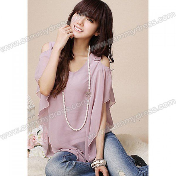 casual scoop neck irregular hem design faux twinset chiffon t-shirt - pink | Sammy Dress