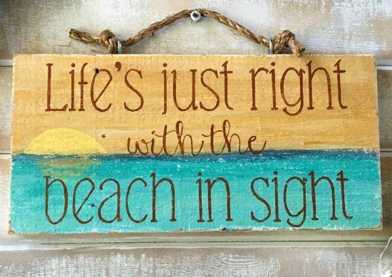 Handmade Reclaimed Wood Beach Saying Sign Beach Signs Beach