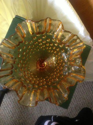 Vintage Amber Glass Pedestal Candy Dish Depression | eBay