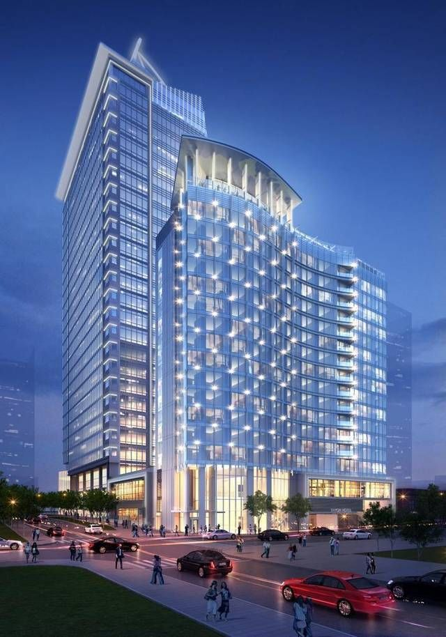 A Rendering Of The Planned Kimpton Uptown Charlotte Hotel In Foreground