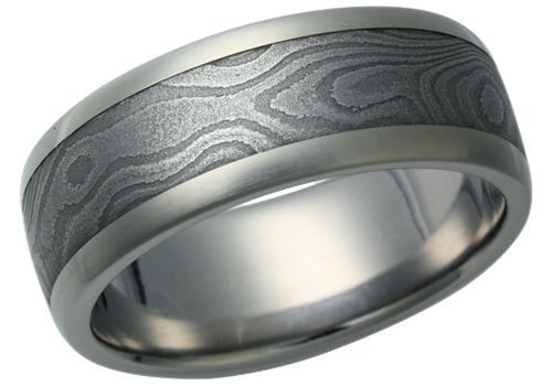 Damascus steel inlay