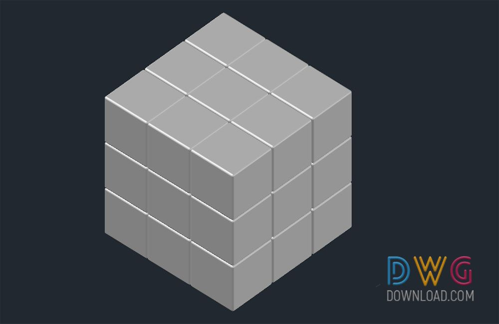 Dwg Download -Rubiks Cube 3D Drawing