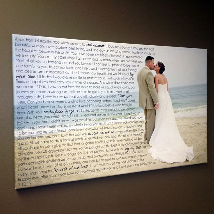 Cool Idea For Wedding Vows Or First Dance Lyrics And Photograph Canvas Print With Words Over Photo