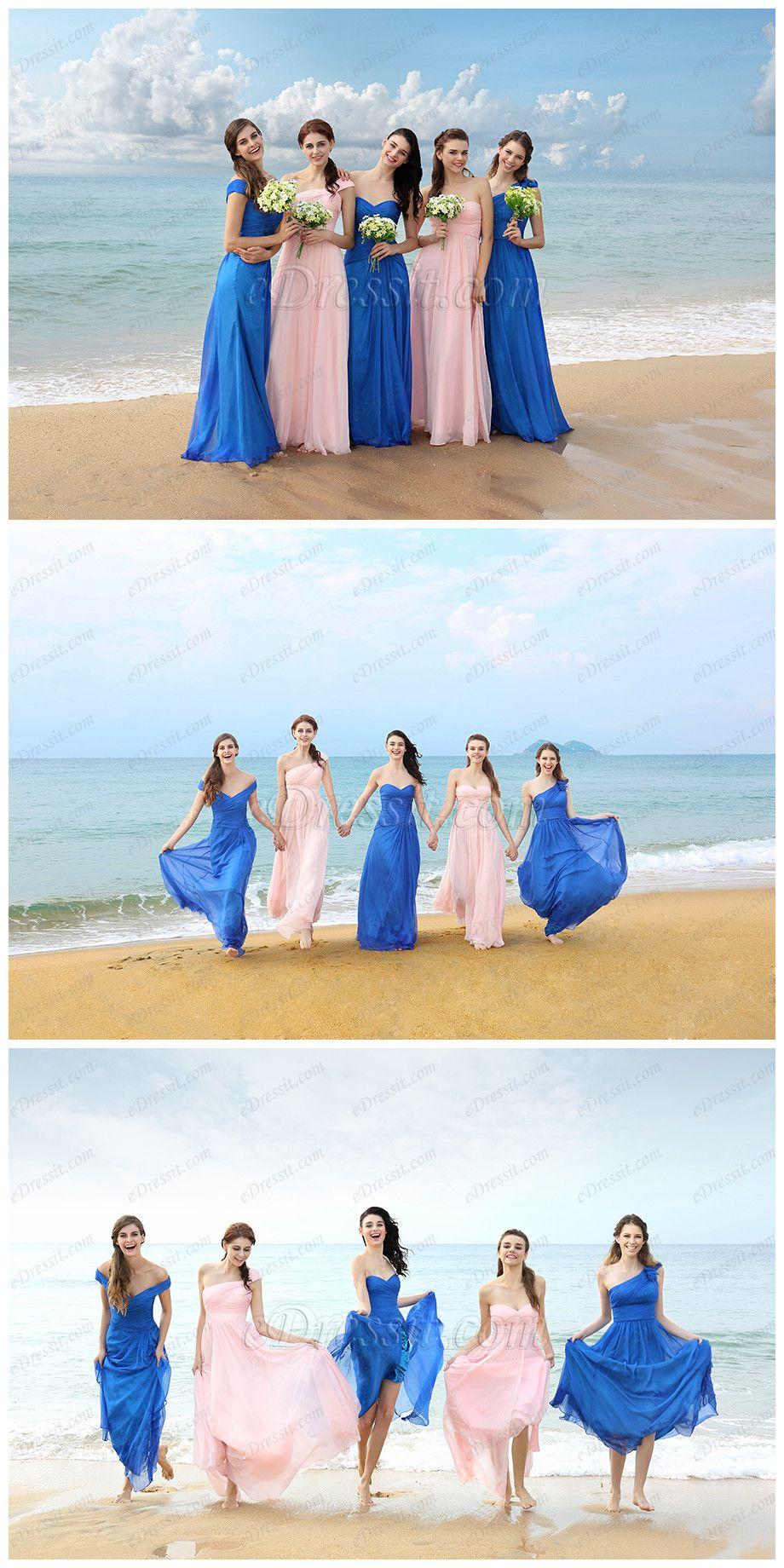 Blueupink combinations bridesmaiddresses wedding edressit