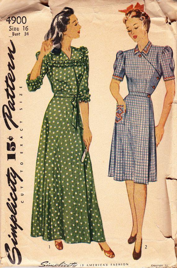 Vintage 1940 S Women S Wrap House Dress Pattern Simplicity 4900