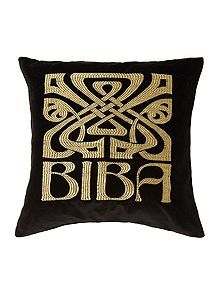 black velvet biba logo cushion living room dark velvet. Black Bedroom Furniture Sets. Home Design Ideas