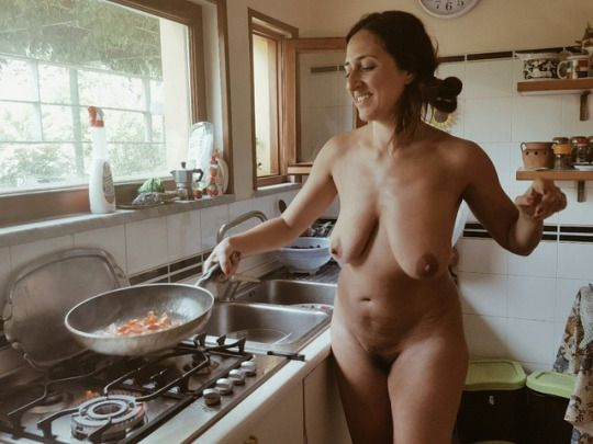 Sexy naked girls cooking breakfast phrase