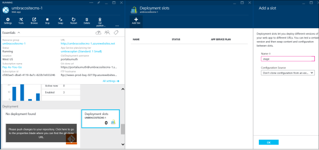 Using Umbraco CMS with Multiple Environments on Azure App