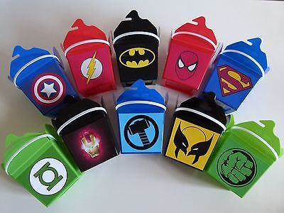 Super Hero Superhero Kids Birthday Party Box Favour Lolly Lollie Bag Loot Boxes in Home & Garden, Parties, Occasions, Favours | eBay