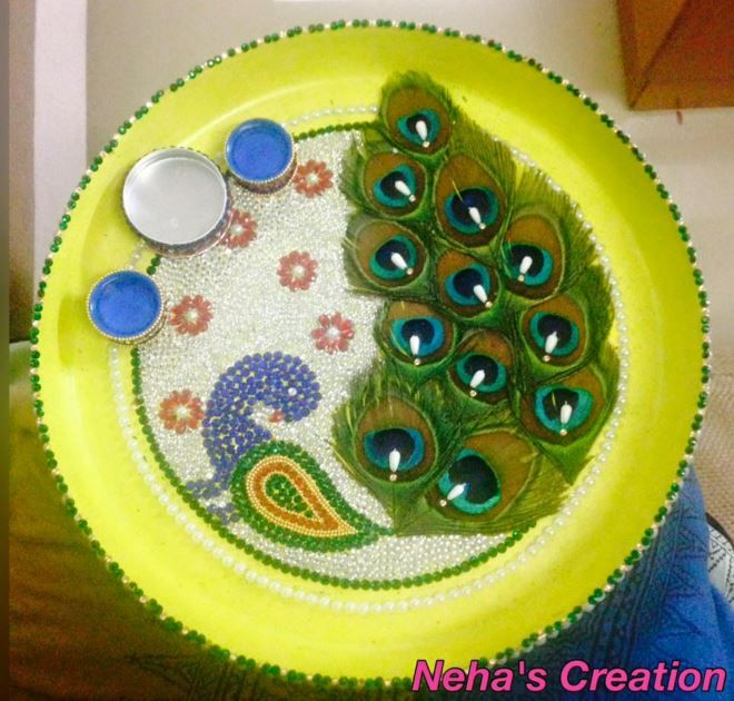 Aarti thali decoration ideas for janmashtami decoration for Aarti thali decoration with pulses