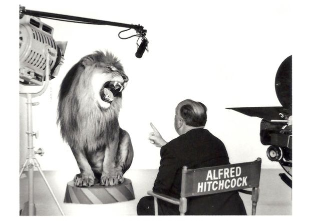 Alfred Hitchcock directing the MGM Lion.