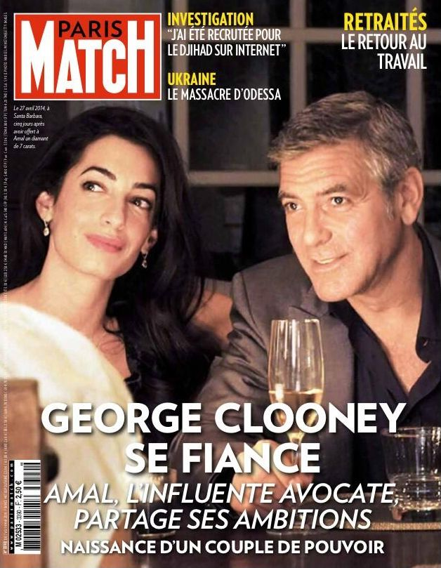 cette semaine dans paris match george clooney et amal la promesse du mariage quand une. Black Bedroom Furniture Sets. Home Design Ideas