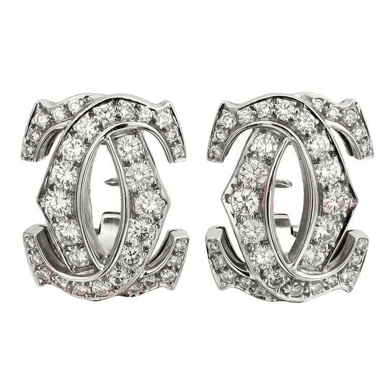 Vintage #CARTIER Double C Design White Gold Diamond Earring