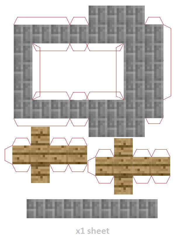 майнкрафт поделка из бумаги с двигающимися частями не цветные который