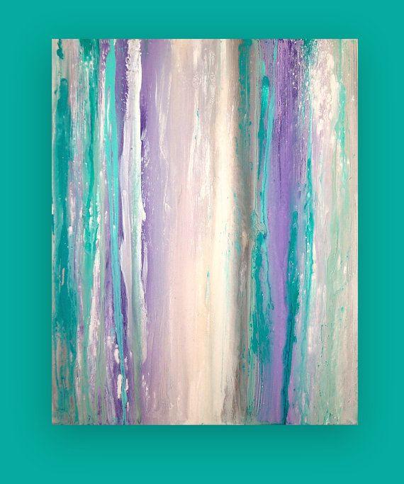 Turquesa Y Púrpura Acrílico Pintura Abstracta Por Orabirenbaumart